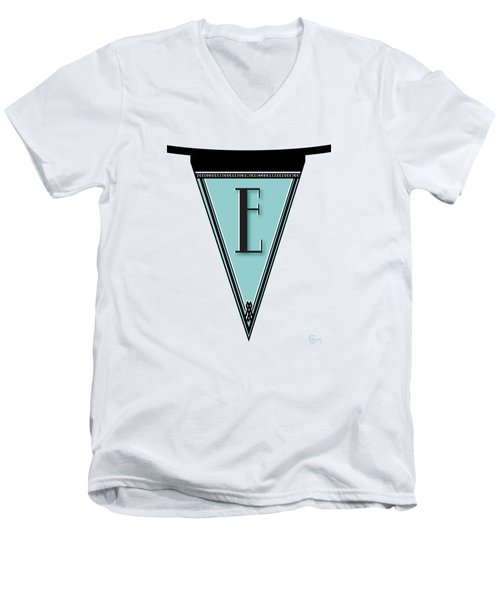 Pennant Deco Blues Banner Initial Letter E Men's V-Neck T-Shirt by Cecely Bloom