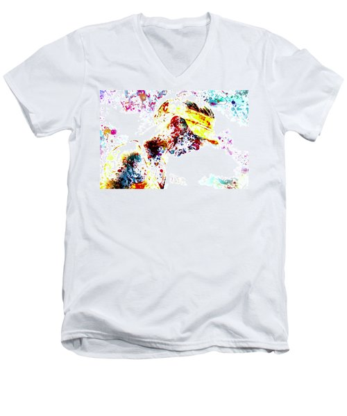 Maria Sharapova Paint Splatter 4p                 Men's V-Neck T-Shirt by Brian Reaves