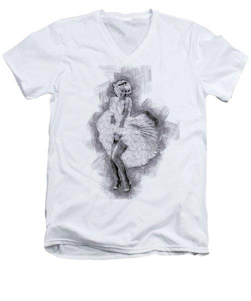 Marilyn Monroe Portrait 03 Men's V-Neck T-Shirt by Pablo Romero