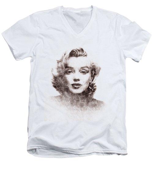 Marilyn Monroe Portrait 04 Men's V-Neck T-Shirt by Pablo Romero