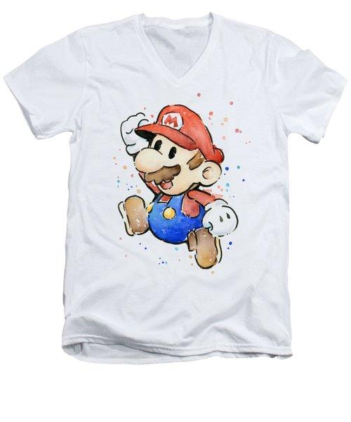Mario Watercolor Fan Art Men's V-Neck T-Shirt by Olga Shvartsur