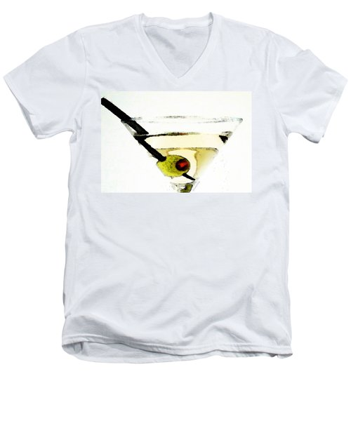 Martini With Green Olive Men's V-Neck T-Shirt by Sharon Cummings