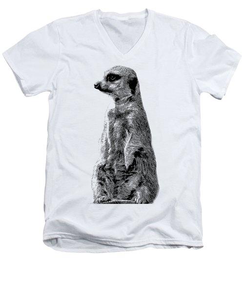 Meerkat Etching Men's V-Neck T-Shirt by Greg Noblin