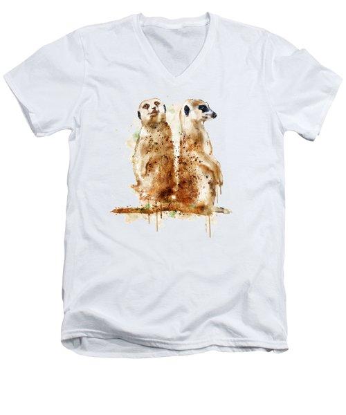 Meerkats Men's V-Neck T-Shirt by Marian Voicu