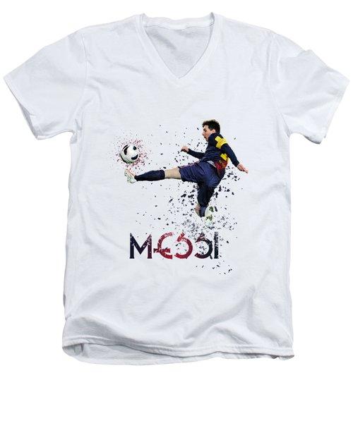 Messi Men's V-Neck T-Shirt by Armaan Sandhu