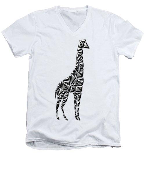 Metallic Giraffe Men's V-Neck T-Shirt by Chris Butler