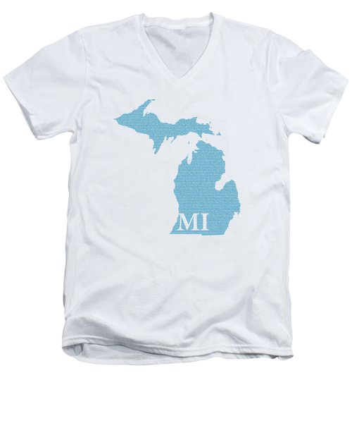 Michigan State Map With Text Of Constitution Men's V-Neck T-Shirt by Design Turnpike