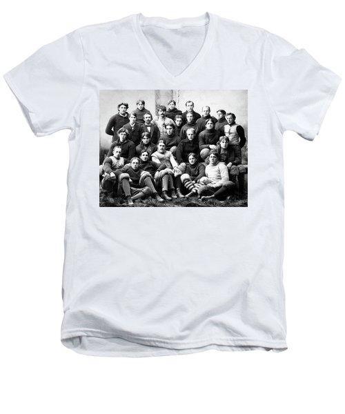 Michigan Wolverines Football Heritage  1895 Men's V-Neck T-Shirt by Daniel Hagerman