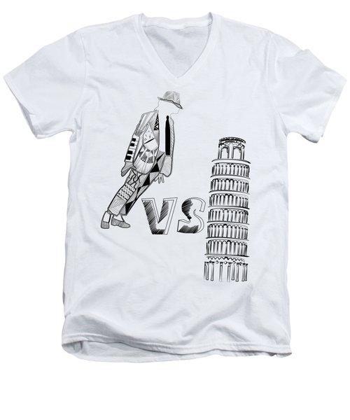 Mj Vs Pisa Men's V-Neck T-Shirt by Serkes Panda