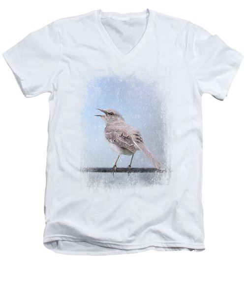Mockingbird In The Snow Men's V-Neck T-Shirt by Jai Johnson