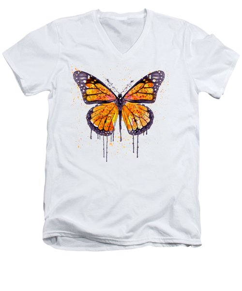 Monarch Butterfly Watercolor Men's V-Neck T-Shirt by Marian Voicu