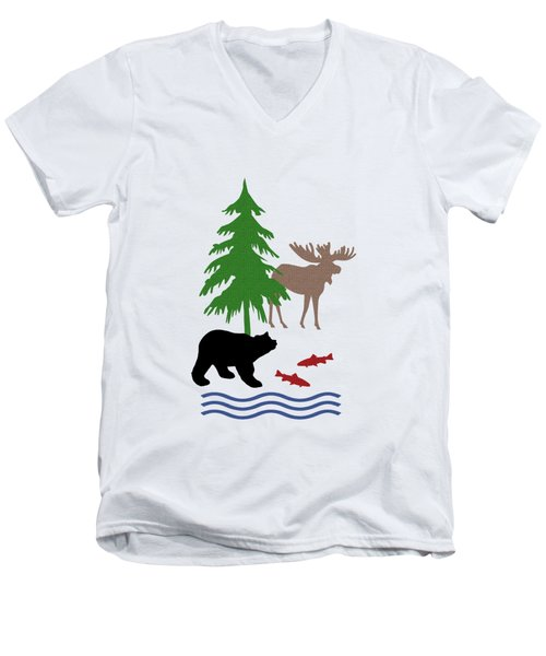 Moose And Bear Pattern Men's V-Neck T-Shirt by Christina Rollo