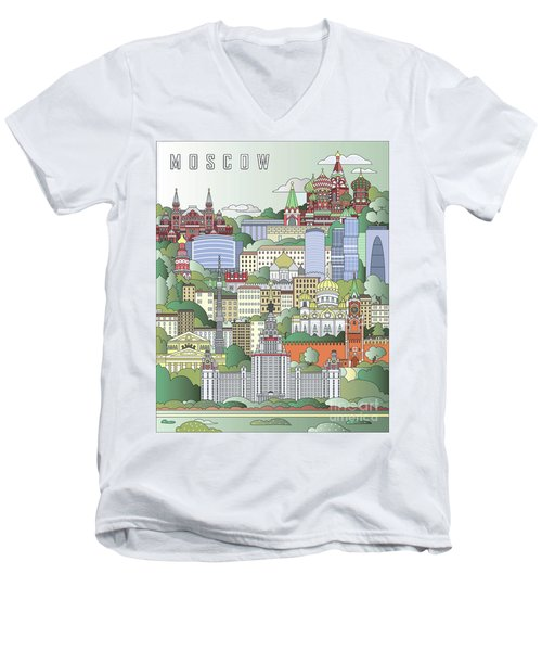 Moscow City Poster Men's V-Neck T-Shirt by Pablo Romero