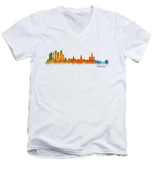 Moscow City Skyline Hq V2 Men's V-Neck T-Shirt by HQ Photo