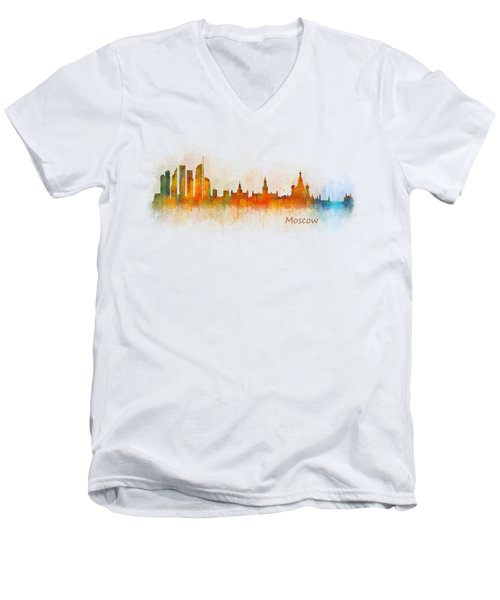 Moscow City Skyline Hq V3 Men's V-Neck T-Shirt by HQ Photo