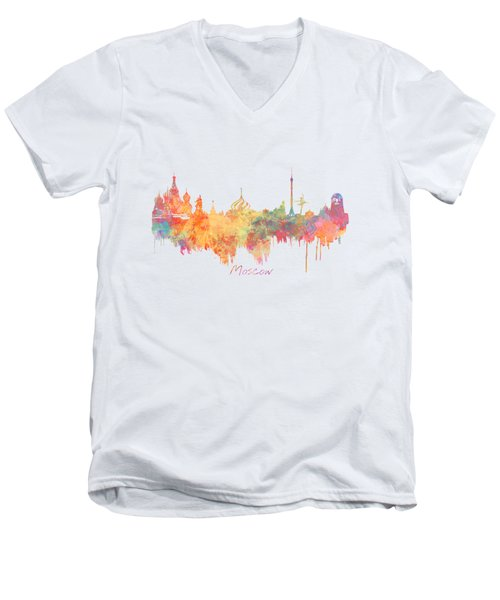 Moscow Russia Skyline City Men's V-Neck T-Shirt by Justyna JBJart