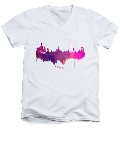 Moscow Russia Skyline Purple Men's V-Neck T-Shirt by Justyna JBJart
