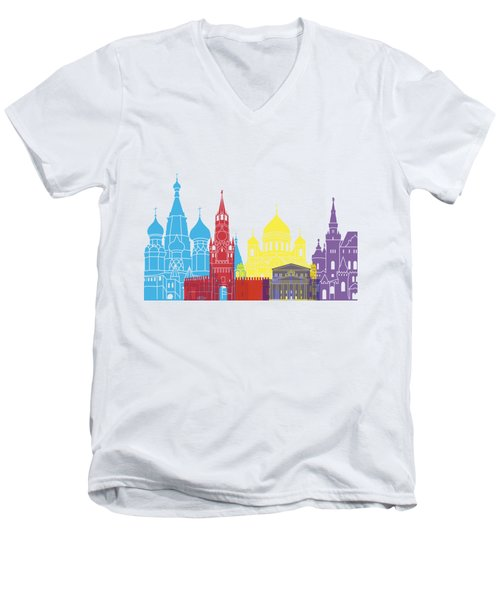 Moscow Skyline Pop Men's V-Neck T-Shirt by Pablo Romero