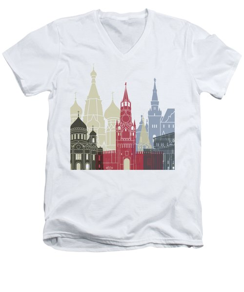 Moscow Skyline Poster Men's V-Neck T-Shirt by Pablo Romero