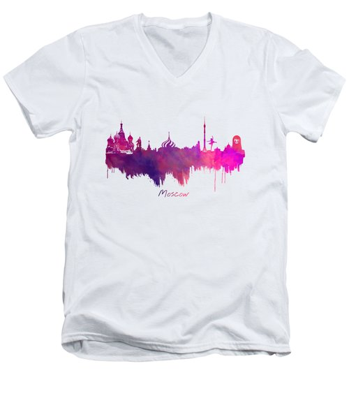 Moscow Skyline Purple Men's V-Neck T-Shirt by Justyna JBJart