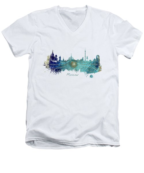 Moscow Skyline Wind Rose Men's V-Neck T-Shirt by Justyna JBJart