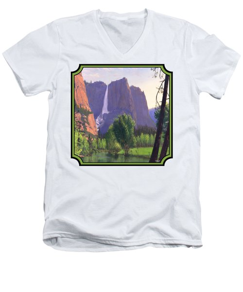 Mountains Waterfall Stream Western Landscape - Square Format Men's V-Neck T-Shirt by Walt Curlee