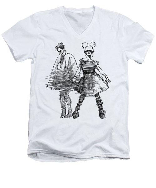 Mouse And Morse Men's V-Neck T-Shirt by H James Hoff