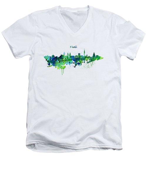 Munich Skyline Silhouette Men's V-Neck T-Shirt by Marian Voicu