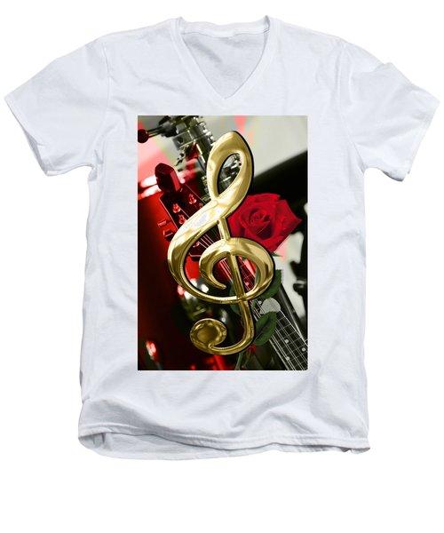 Musical Clef Rose Electric Guitar Art Men's V-Neck T-Shirt by Marvin Blaine