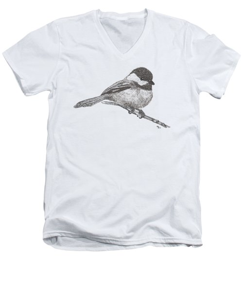 My Little Chickadee-dee-dee Men's V-Neck T-Shirt by Mary-Ellen Arsenault