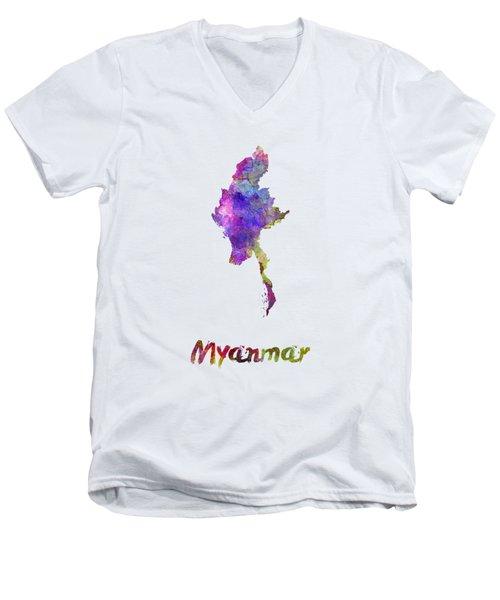 Myanmar In Watercolor Men's V-Neck T-Shirt by Pablo Romero