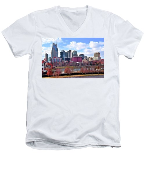 Nashville On The Riverfront Men's V-Neck T-Shirt by Frozen in Time Fine Art Photography