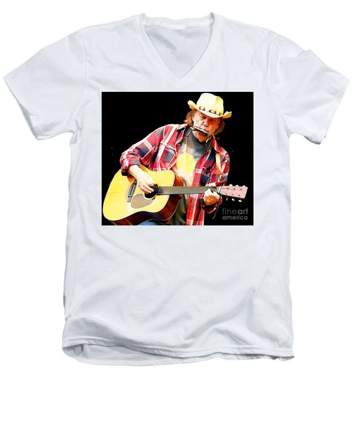 Neil Young Men's V-Neck T-Shirt by John Malone