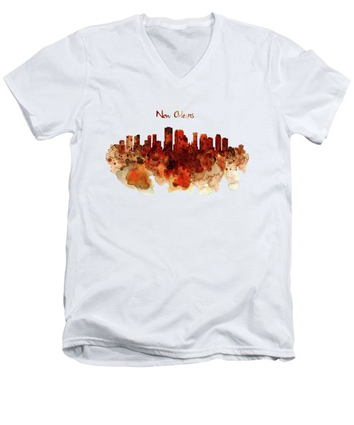 New Orleans Watercolor Skyline Men's V-Neck T-Shirt by Marian Voicu