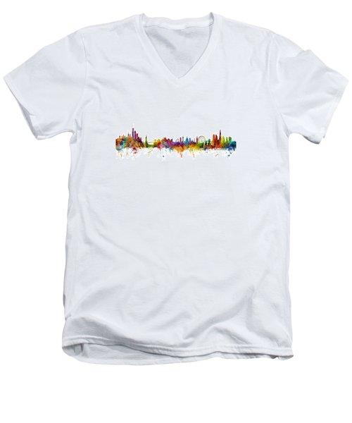 New York And London Skyline Mashup Men's V-Neck T-Shirt by Michael Tompsett
