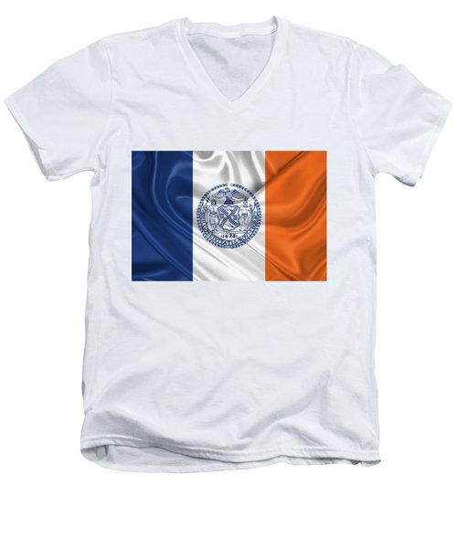 New York City - Nyc Flag Men's V-Neck T-Shirt by Serge Averbukh