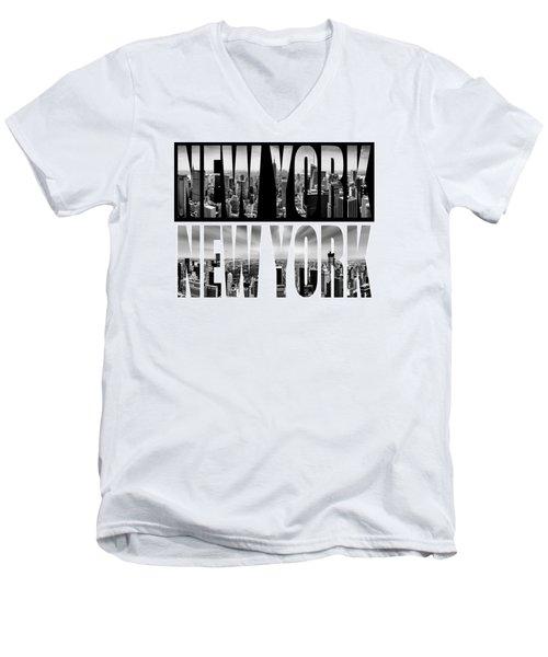 New York New York Men's V-Neck T-Shirt by Az Jackson