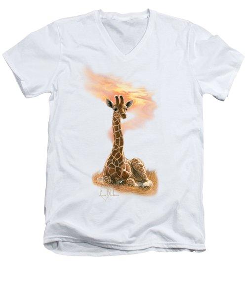 Newborn Giraffe Men's V-Neck T-Shirt by Lucie Bilodeau