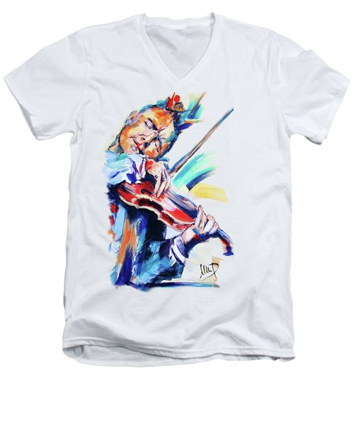 Nigel Kennedy Men's V-Neck T-Shirt by Melanie D