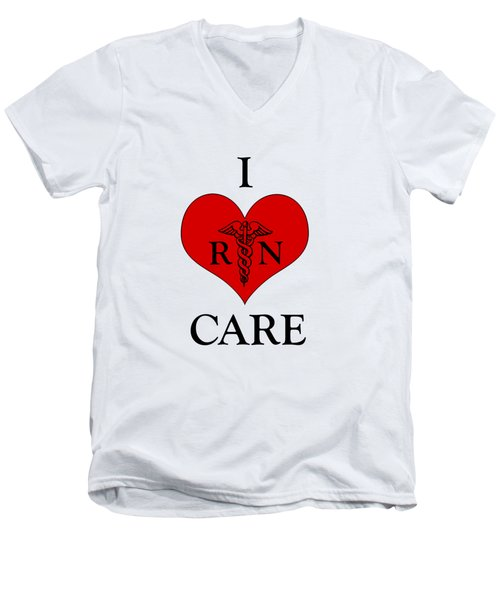 Nursing I Care -  Red Men's V-Neck T-Shirt by Mark Kiver