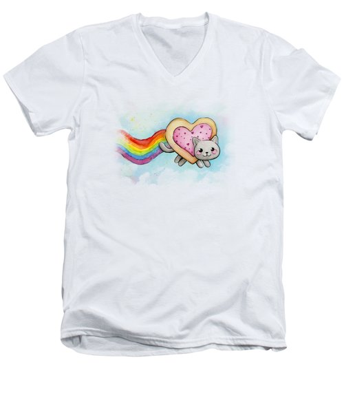 Nyan Cat Valentine Heart Men's V-Neck T-Shirt by Olga Shvartsur