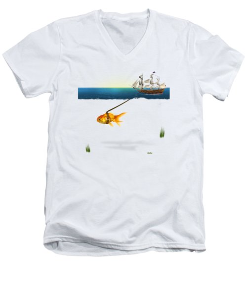 On The Way  Men's V-Neck T-Shirt by Mark Ashkenazi