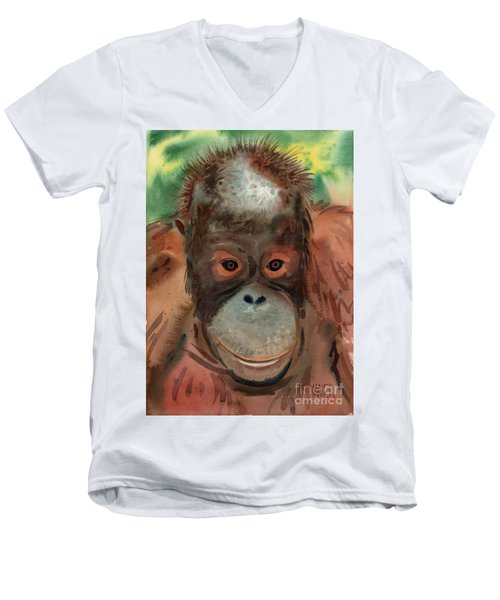 Orangutan Men's V-Neck T-Shirt by Donald Maier