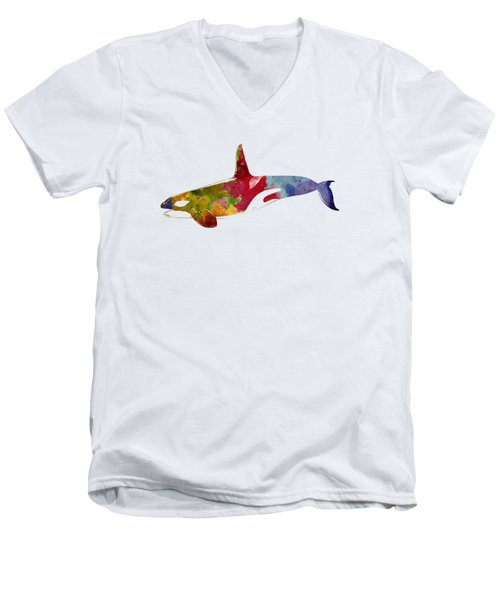 Orca - Killer Whale Drawing Men's V-Neck T-Shirt by World Art Prints And Designs