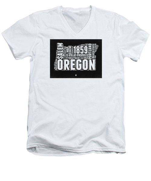 Oregon Black And White Map Men's V-Neck T-Shirt by Naxart Studio