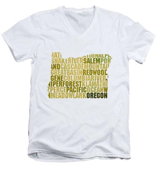 Oregon State Outline Word Map Men's V-Neck T-Shirt by Design Turnpike