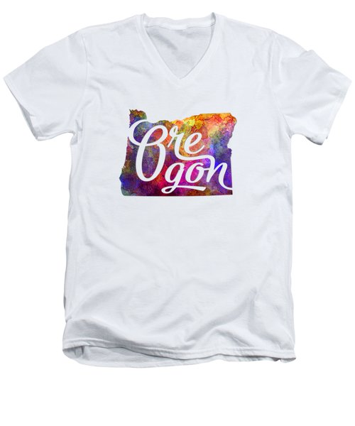 Oregon Us State In Watercolor Text Cut Out Men's V-Neck T-Shirt by Pablo Romero