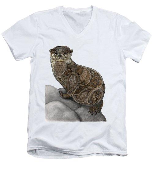 Otter Tangle Men's V-Neck T-Shirt by ZH Field