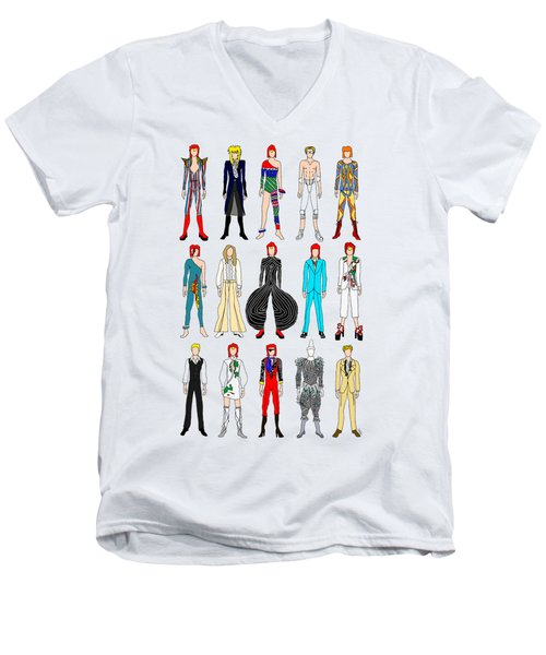 Outfits Of Bowie Men's V-Neck T-Shirt by Notsniw Art