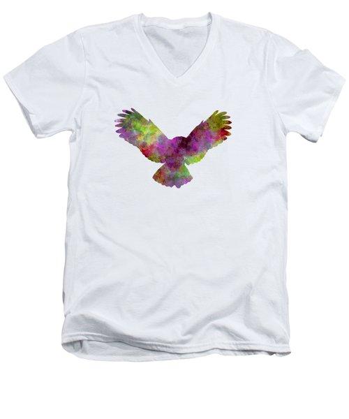 Owl 02 In Watercolor Men's V-Neck T-Shirt by Pablo Romero